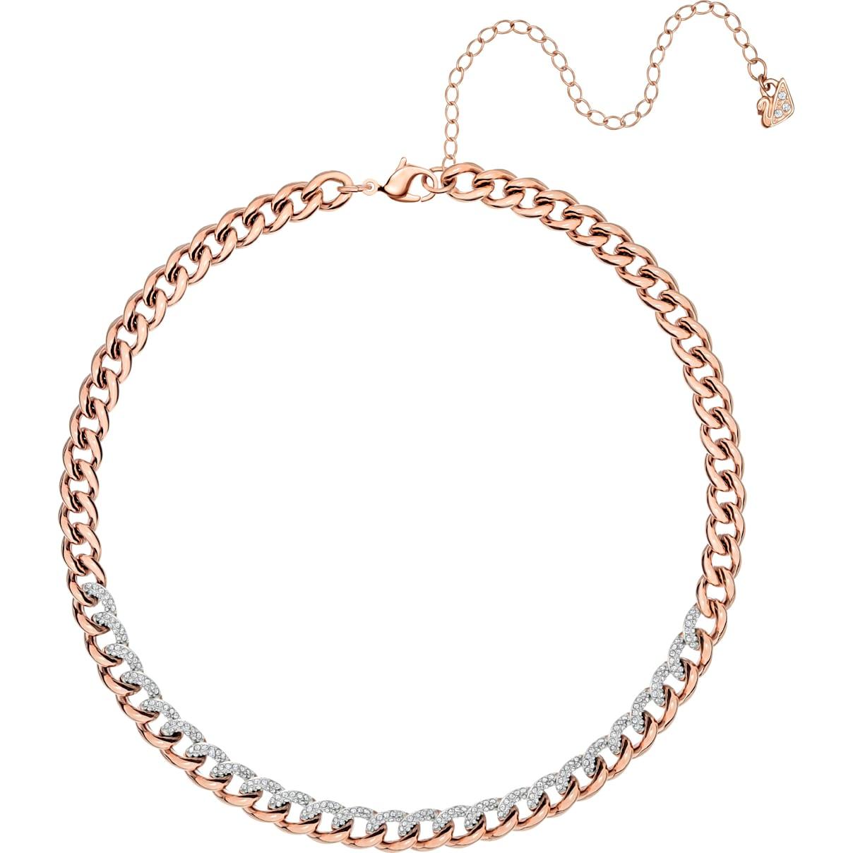 Swarovski Lane Necklace, White, Rose-gold tone plated