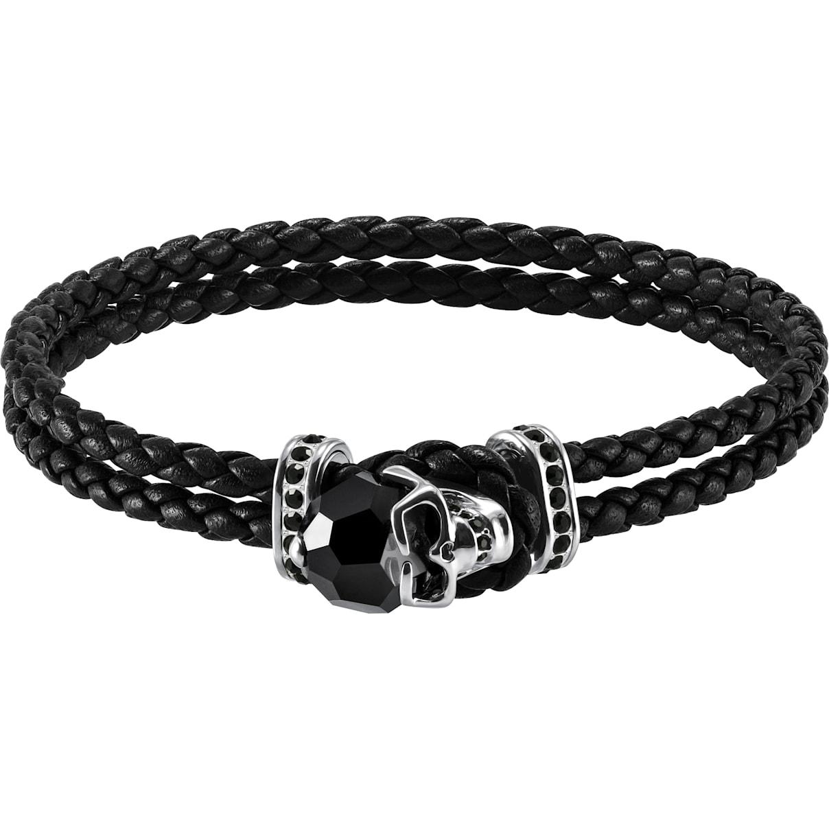 Swarovski Taddeo Bracelet, Leather, Black, Palladium plated