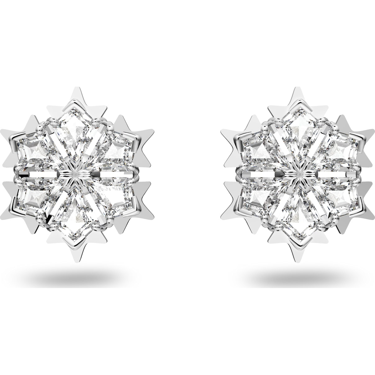 Swarovski Magic Pierced Earrings, White, Rhodium plated