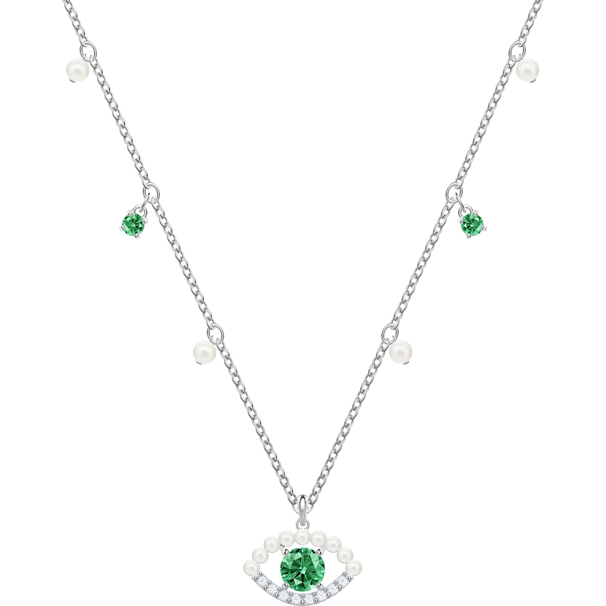 Swarovski Luckily Necklace, Green, Rhodium plated