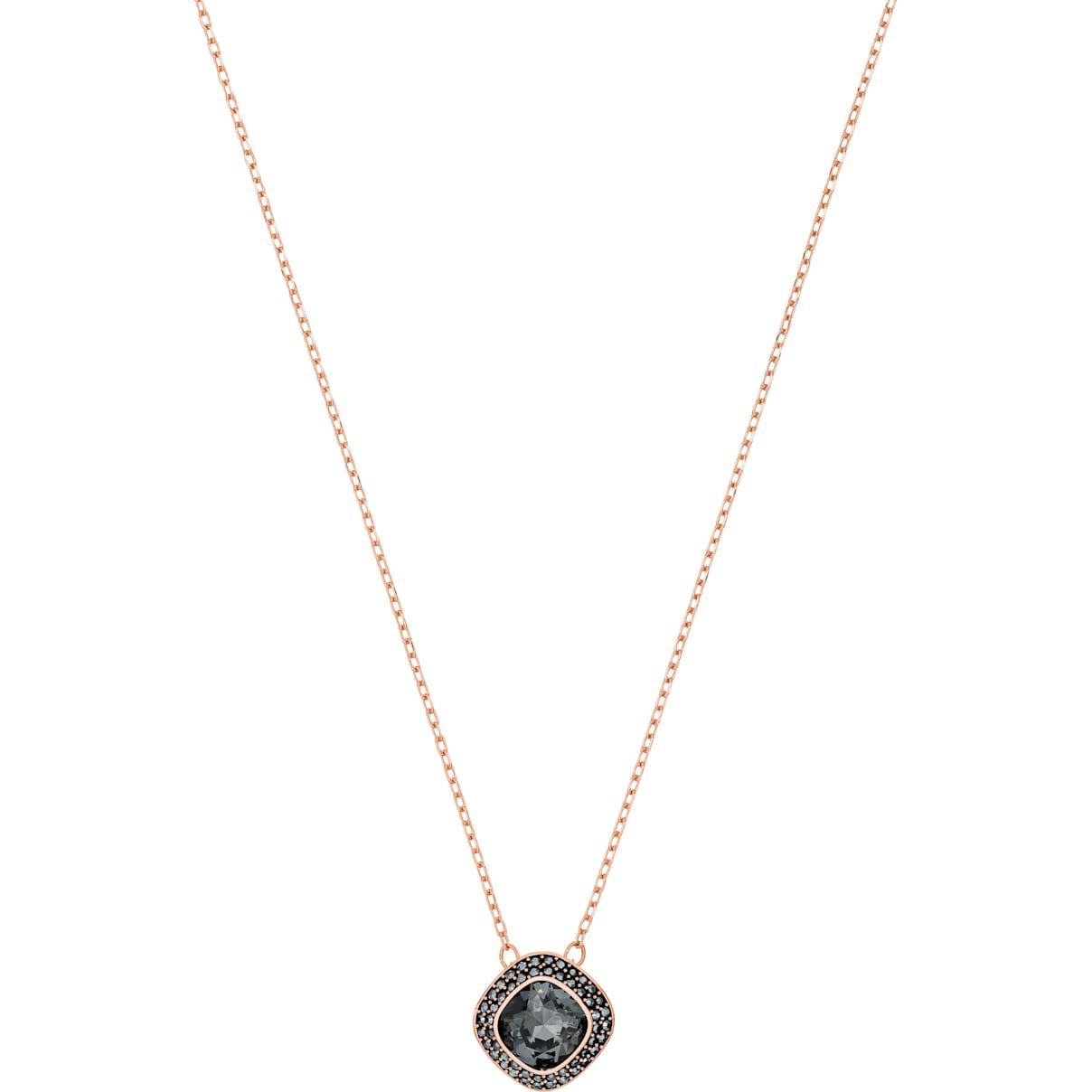 Swarovski Lattitude Pendant, Gray, Rose-gold tone plated