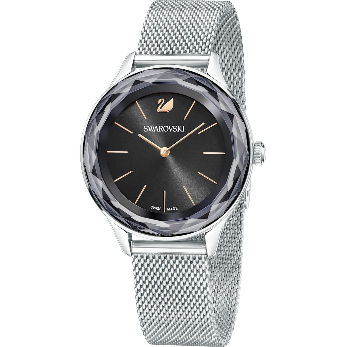 Swarovski Octea Nova Watch, Milanese bracelet, Black, Stainless steel