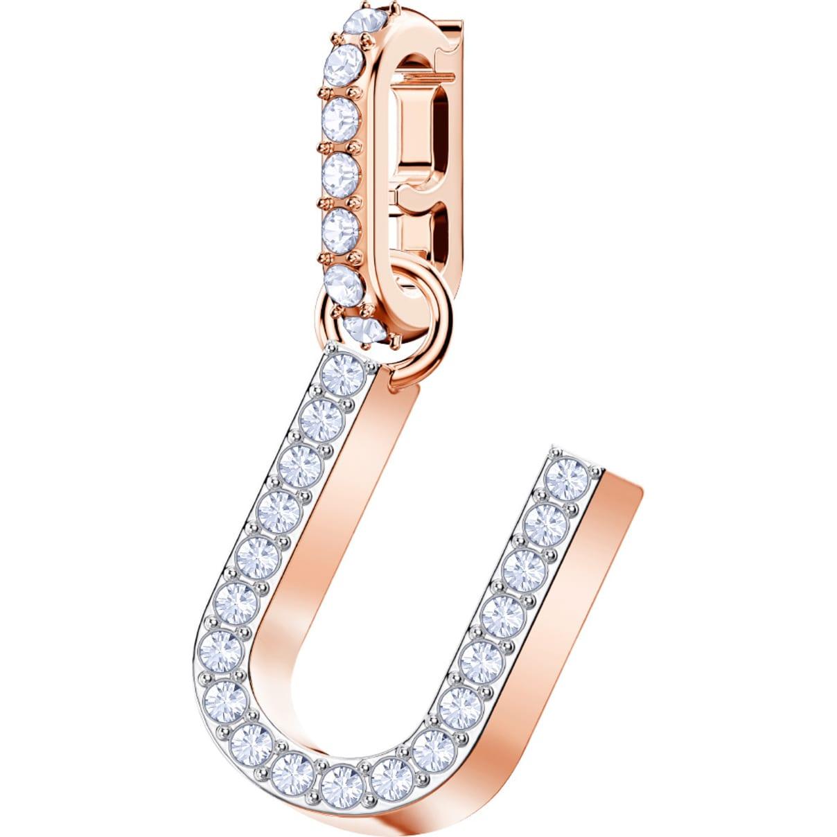 Swarovski Remix Collection Charm U, bianco, Placcato oro rosa