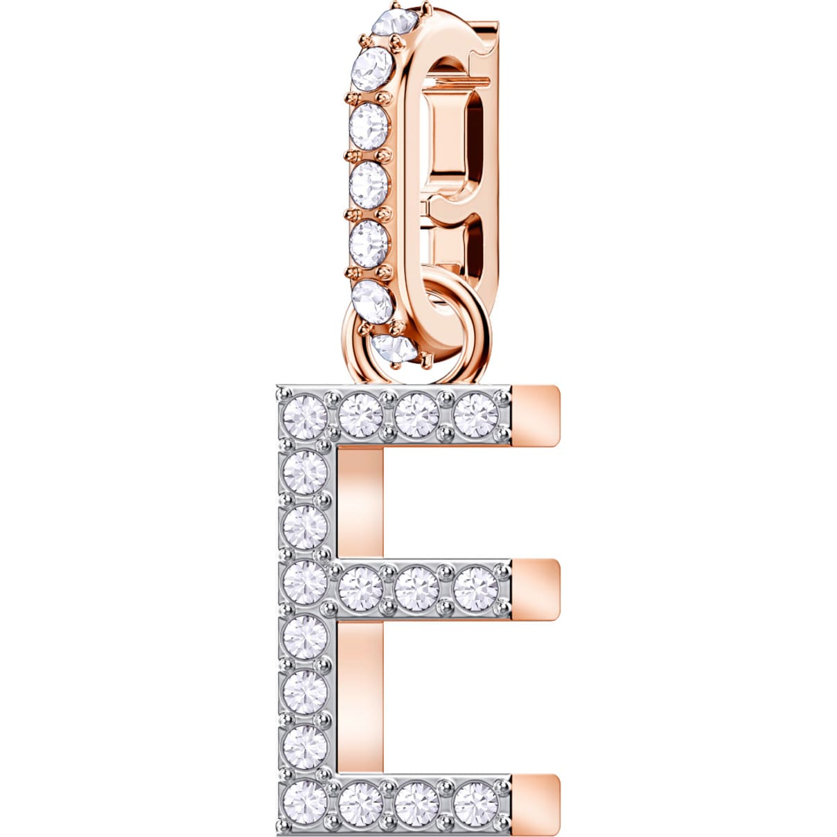 Swarovski Swarovski Remix Collection Charm E, White, Rose-gold tone plated