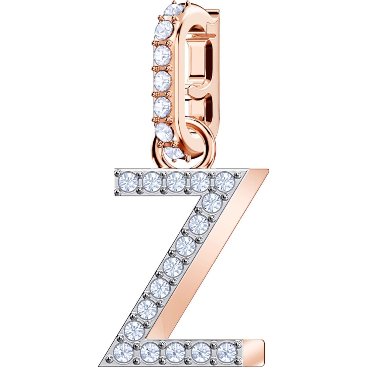Swarovski Remix Collection Charm Z, bianco, Placcato oro rosa