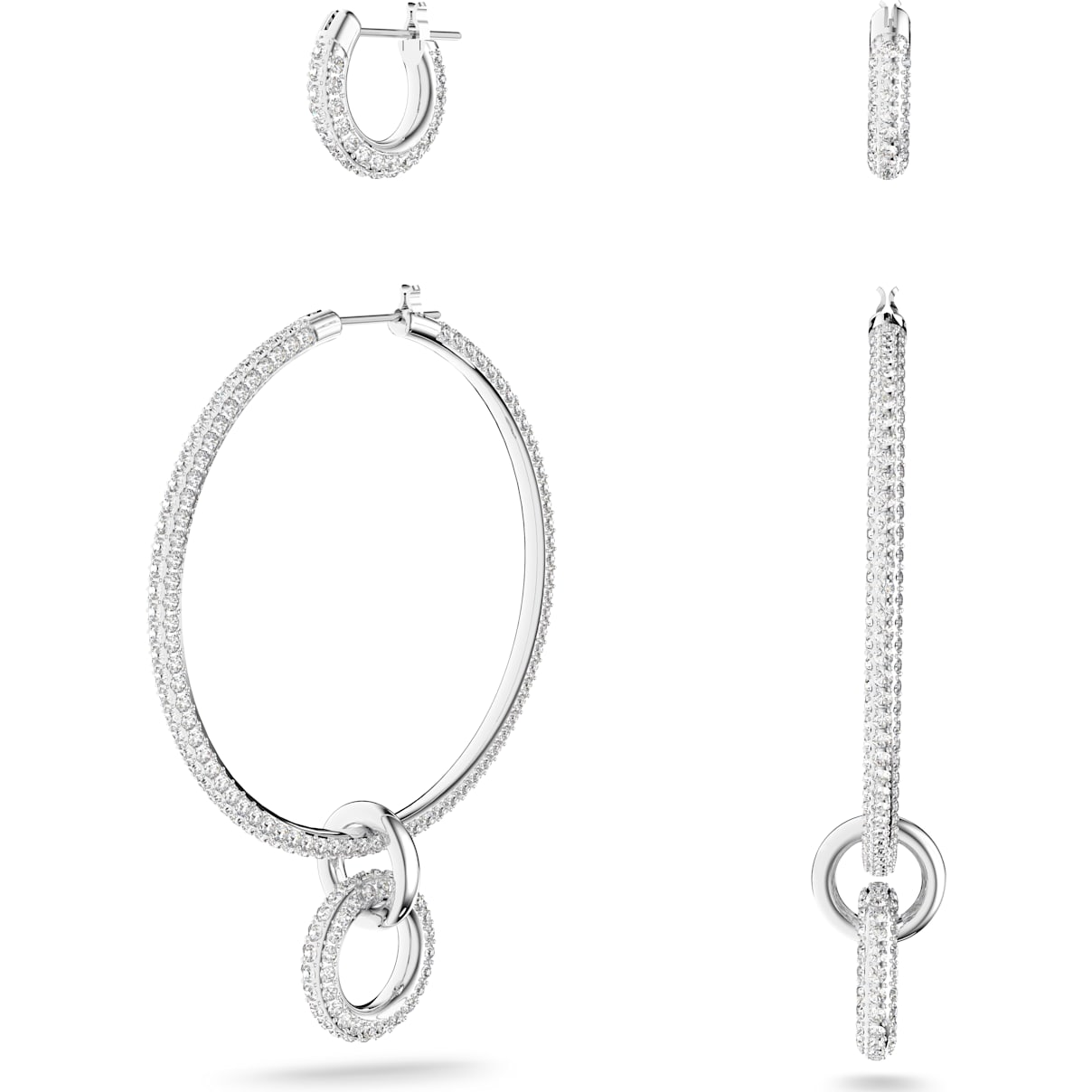 Swarovski Stone Pierced Earring Set, White, Rhodium plated