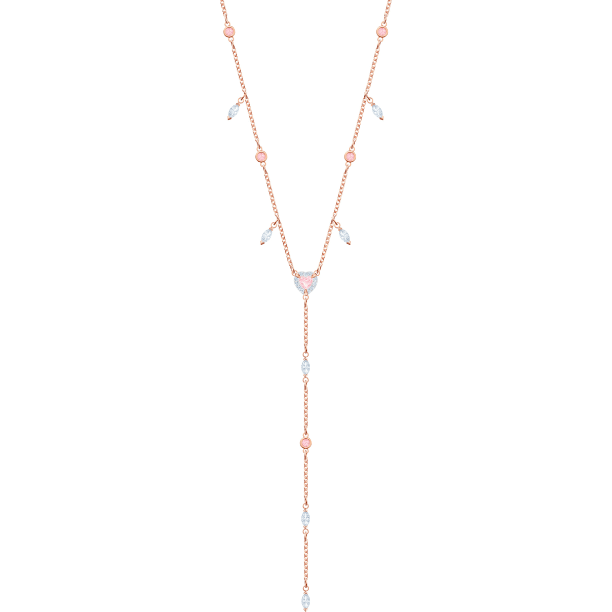 Swarovski One Y Necklace, Multi-colored, Rose-gold tone plated