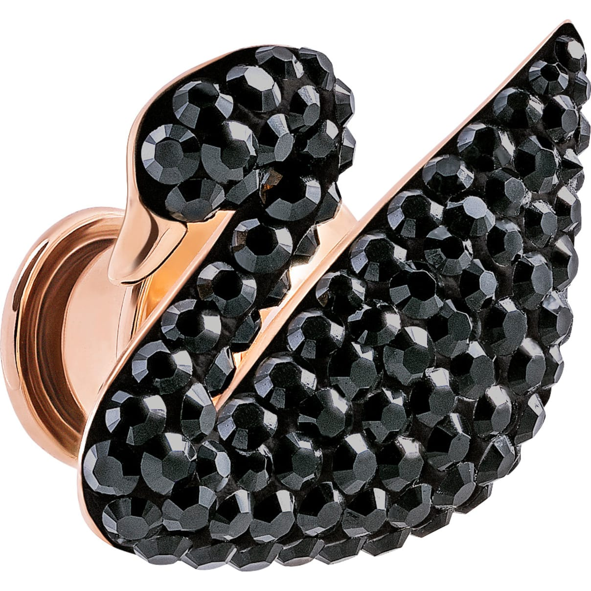Swarovski Iconic Swan Tack Pin, Black, Rose-gold tone plated