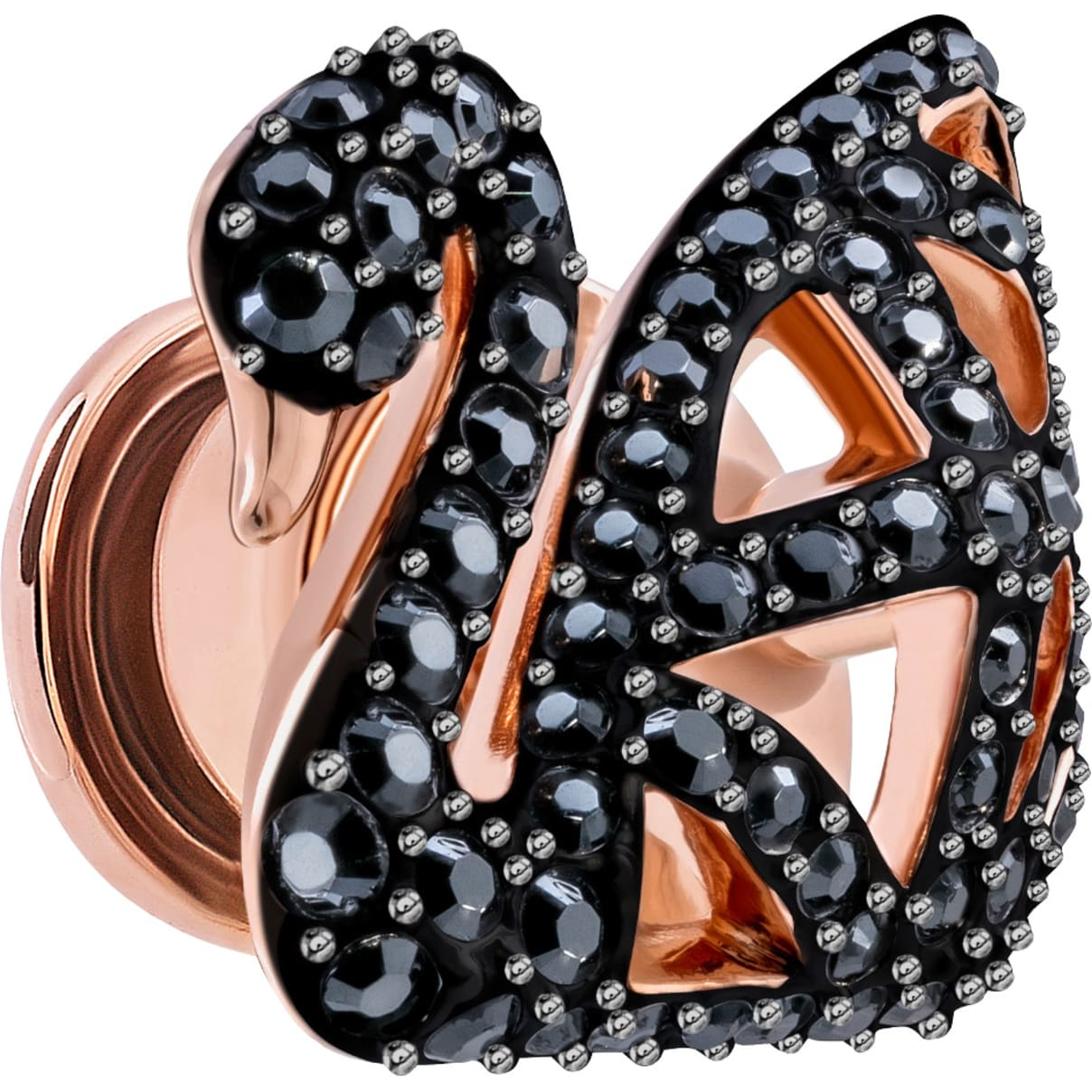 Swarovski Facet Swan Tack Pin, Black, Rose-gold tone plated