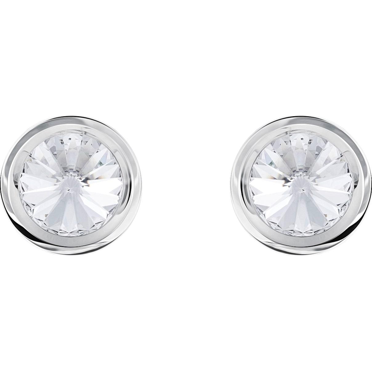 Swarovski Round Cuff Links, White, Stainless steel