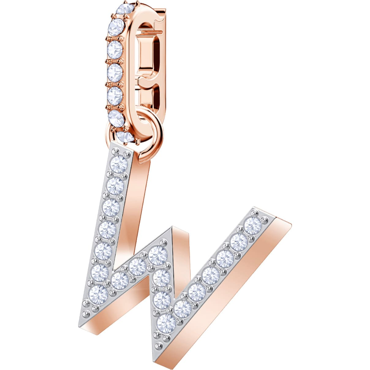Swarovski Remix Collection Charm W, bianco, Placcato oro rosa
