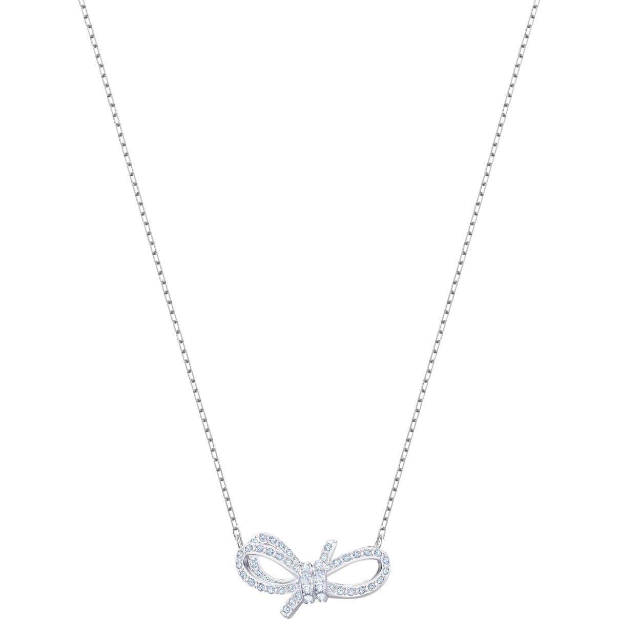 Swarovski Lifelong Bow Necklace, White, Rhodium plated