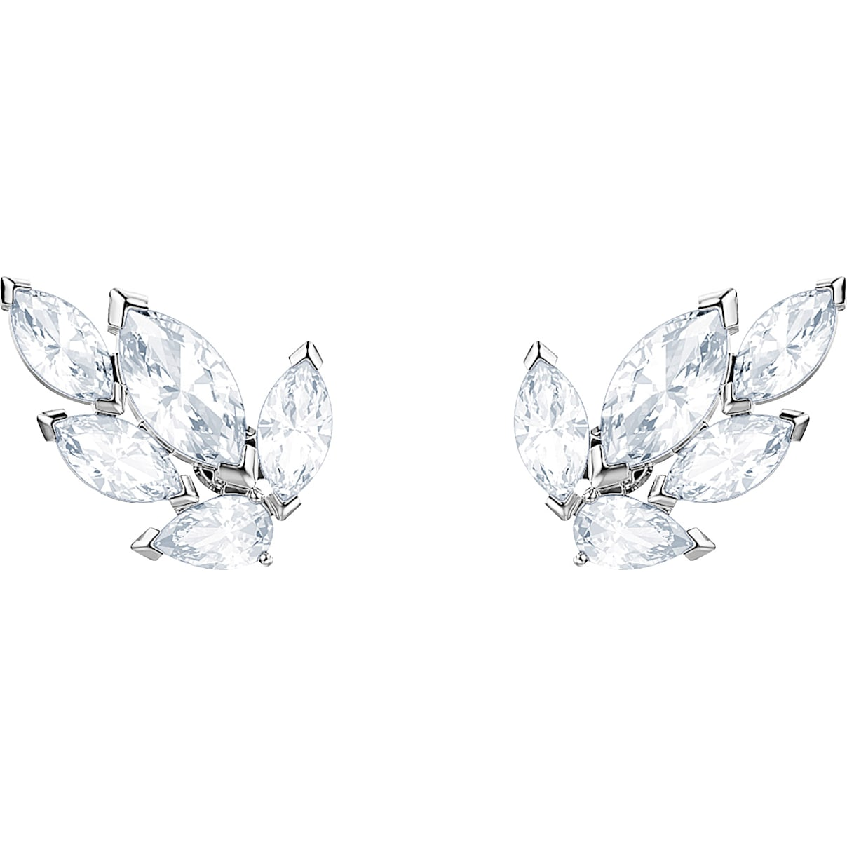 Swarovski Louison Stud Pierced Earrings, White, Rhodium plated