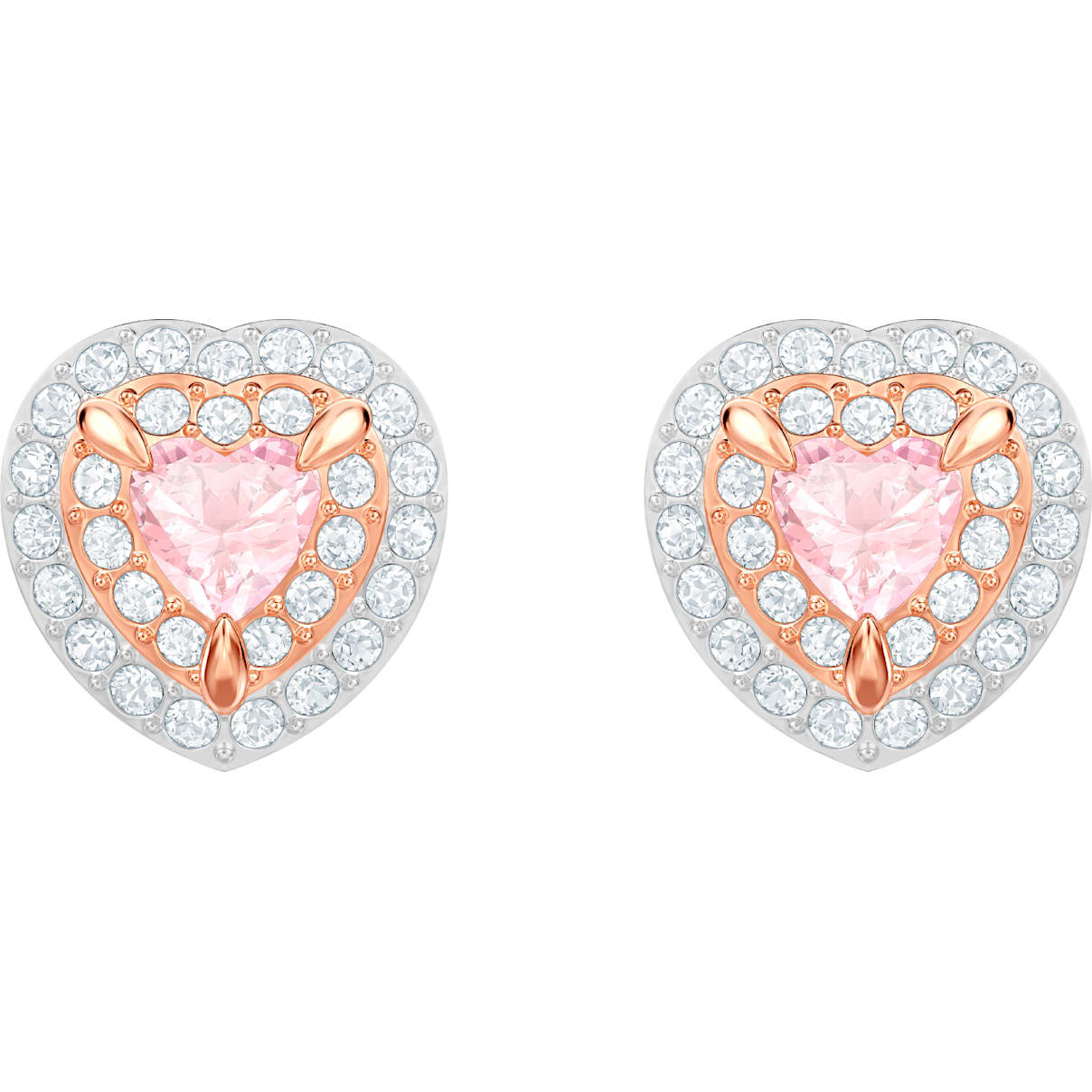 Swarovski One Stud Pierced Earrings, Multi-colored, Rose-gold tone plated