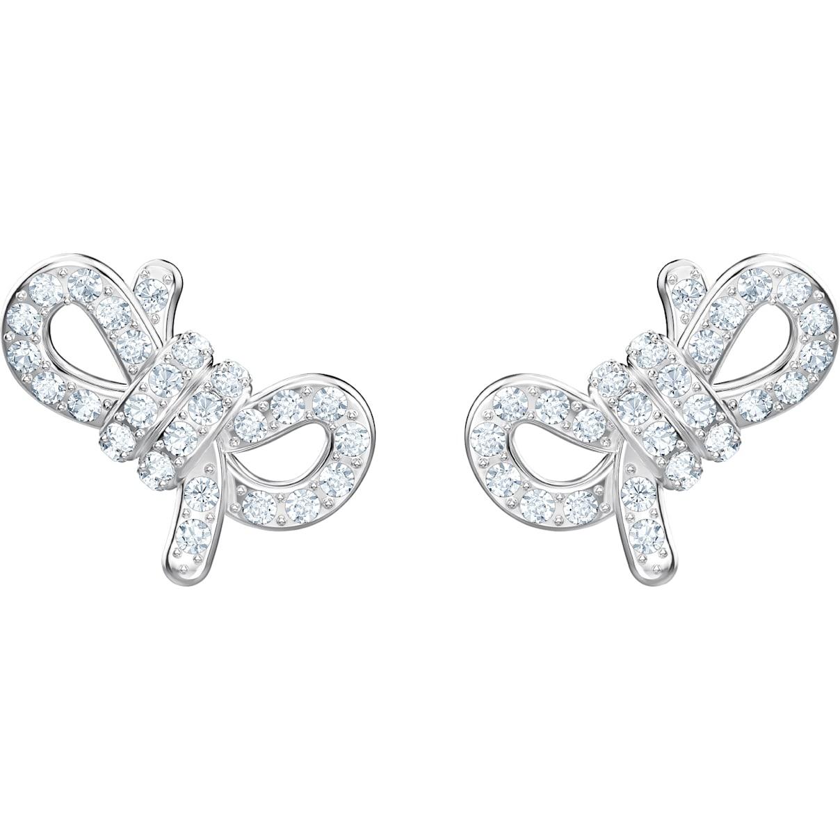 Swarovski Lifelong Bow Pierced Earrings, White, Rhodium plated