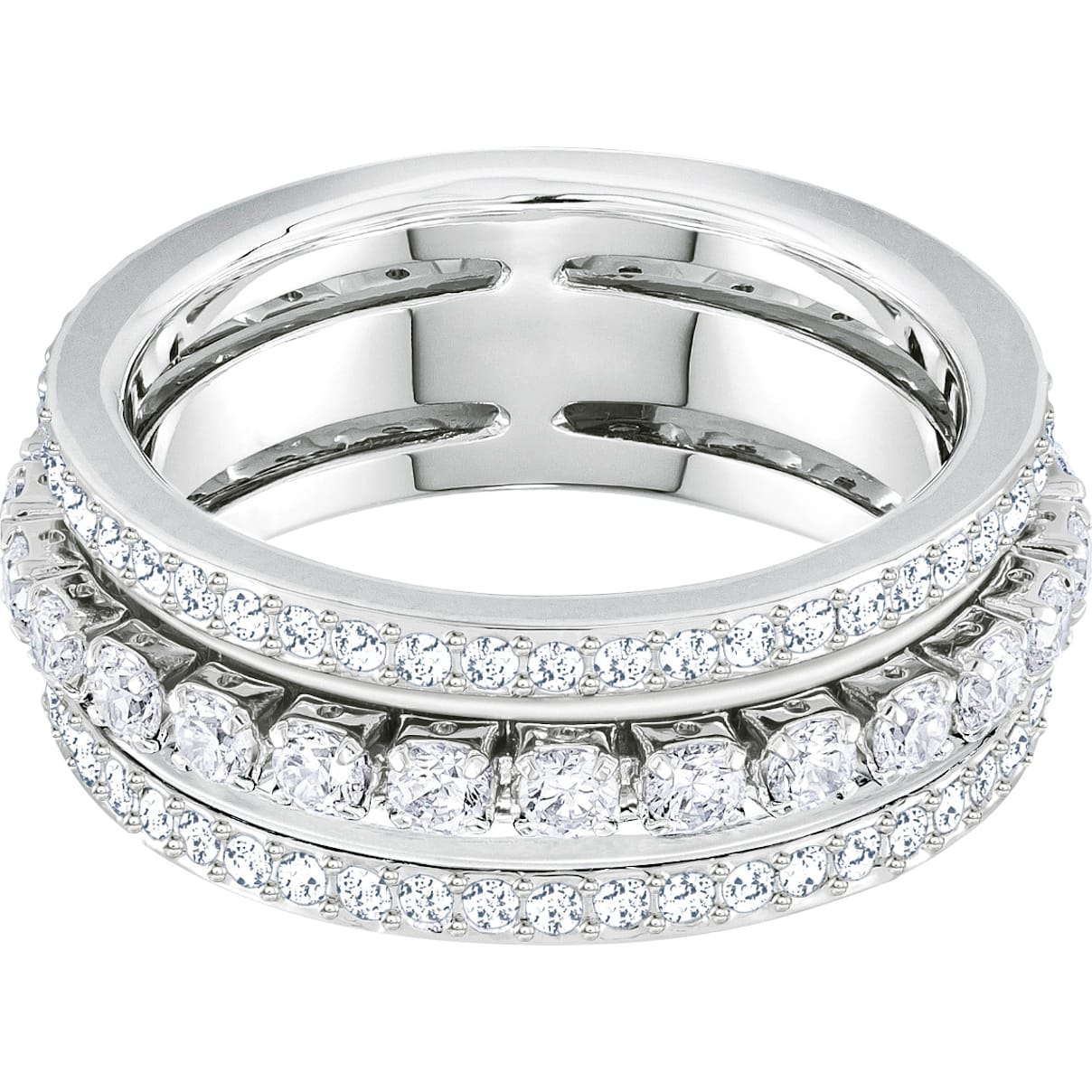 Swarovski Further Ring, White, Rhodium plated
