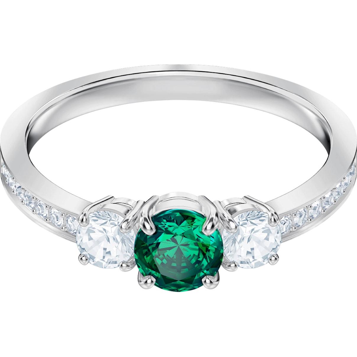 Swarovski Attract Trilogy Round Ring, Green, Rhodium plated