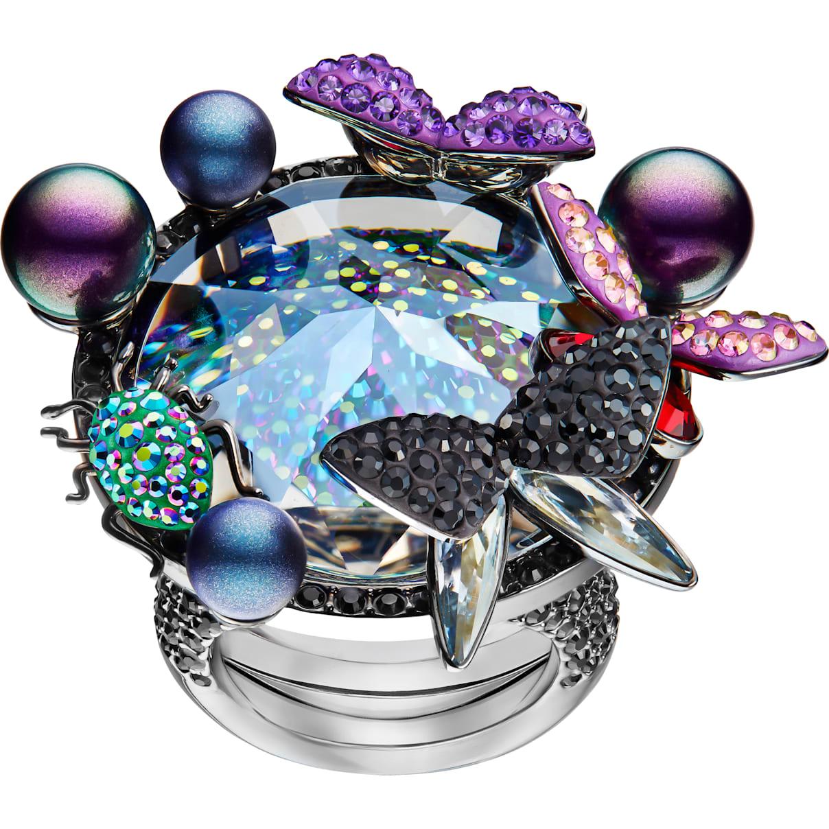 Swarovski Magnetized Cocktail Ring, Multi-colored, Black Ruthenium plated