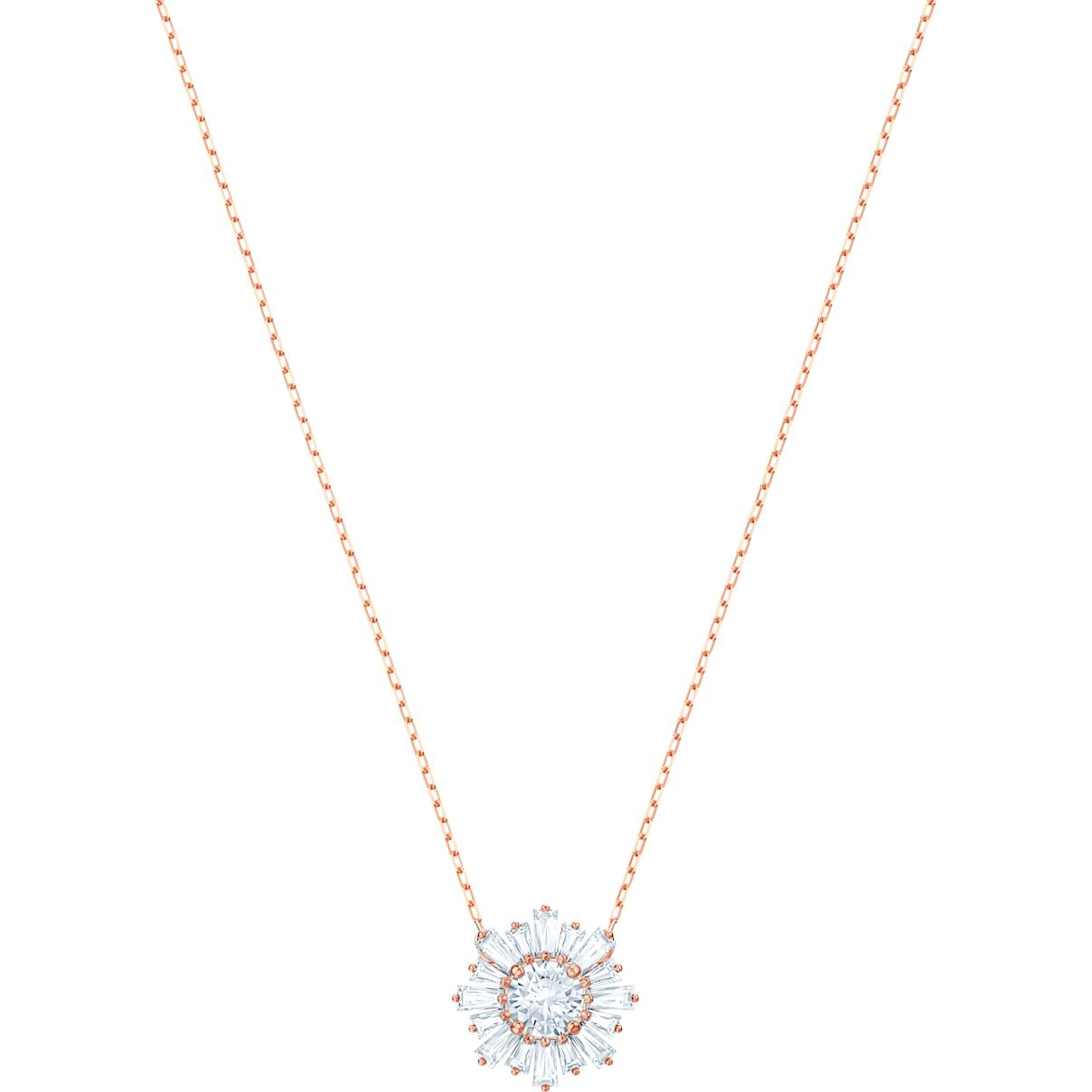 Swarovski Sunshine Pendant, White, Rose-gold tone plated