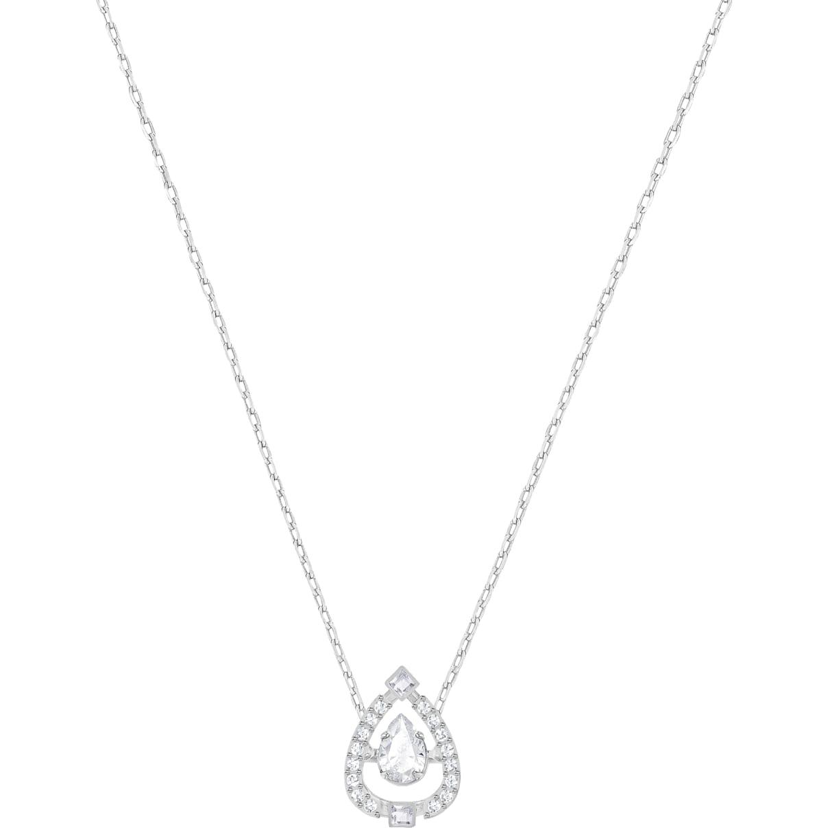 Swarovski Swarovski Sparkling Dance Pear Necklace, White, Rhodium plated