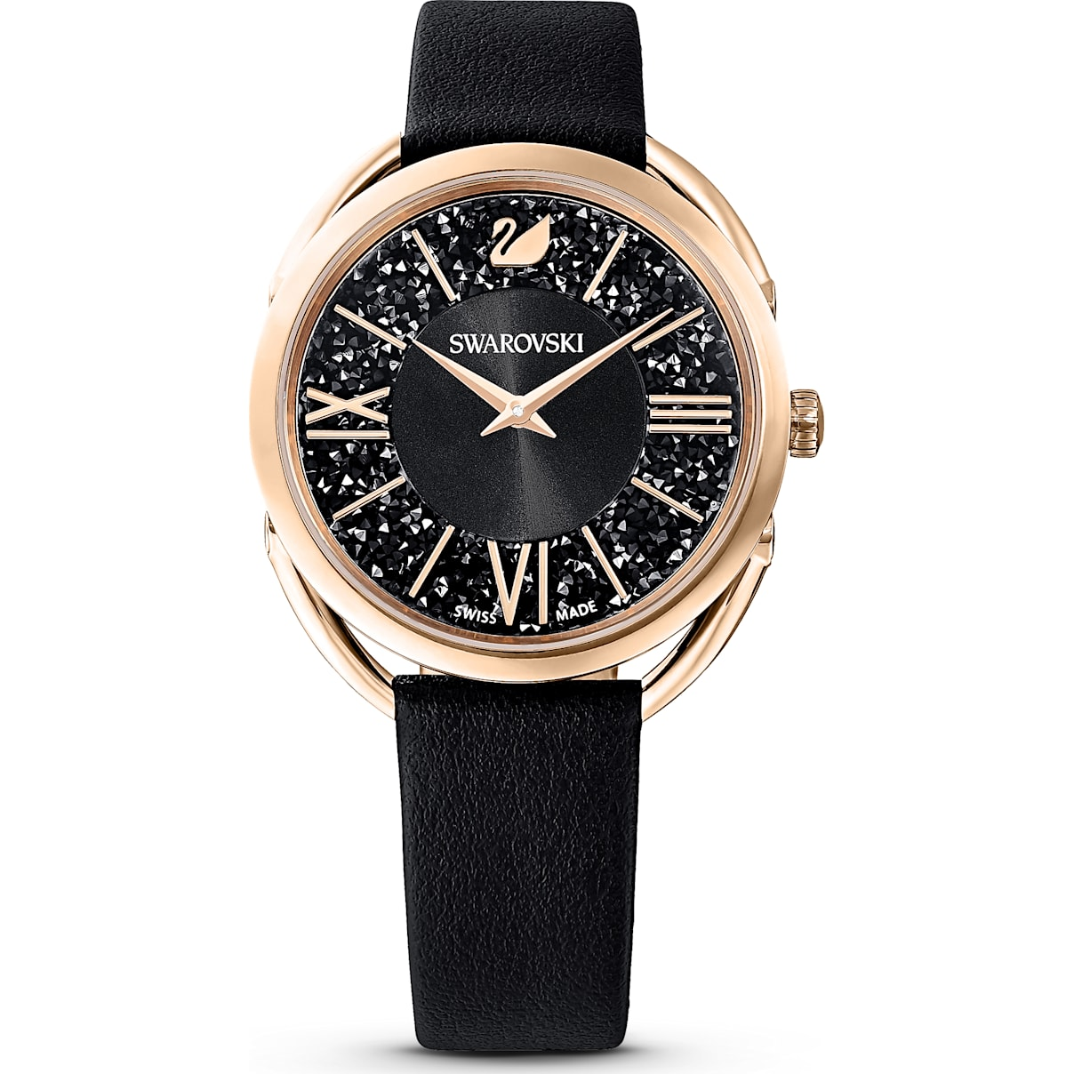 Swarovski Crystalline Glam Watch, Leather Strap, Black, Rose-gold tone PVD
