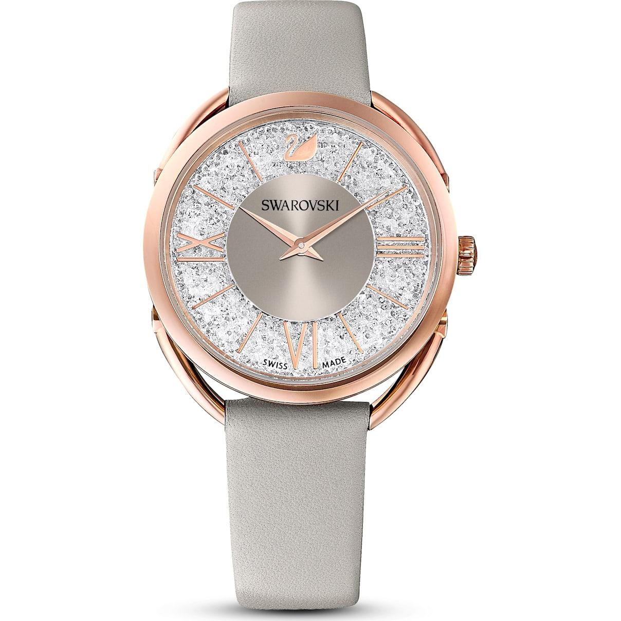 Swarovski Crystalline Glam Watch, Leather Strap, Gray, Rose-gold tone PVD
