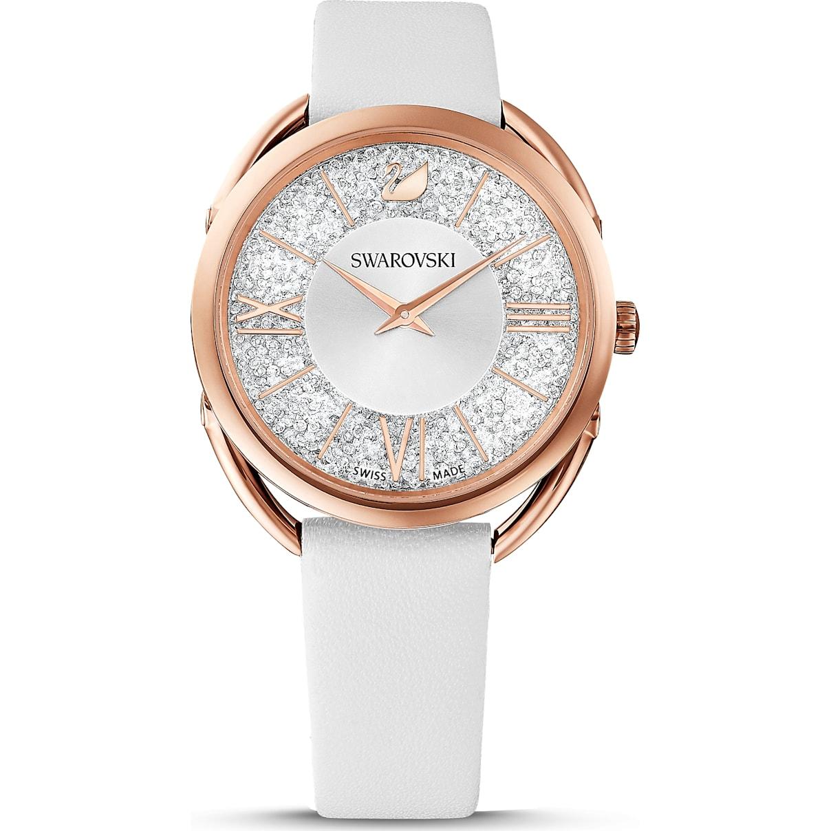 Swarovski Crystalline Glam Watch, Leather Strap, White, Rose-gold tone PVD