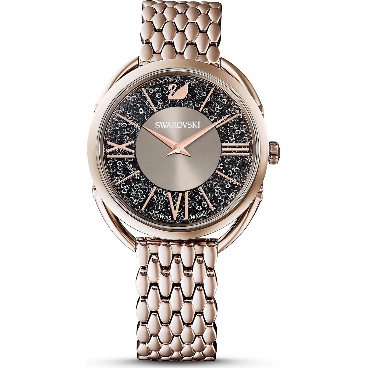 Swarovski Crystalline Glam Watch, Metal bracelet, Gray, Champagne-gold tone PVD