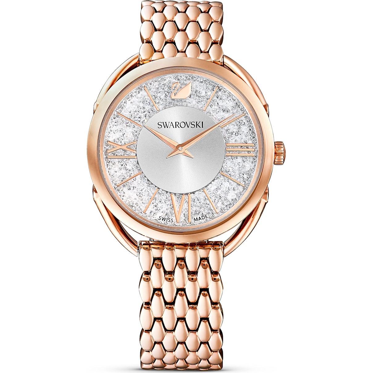 Swarovski Crystalline Glam Watch, Metal bracelet, White, Rose-gold tone PVD