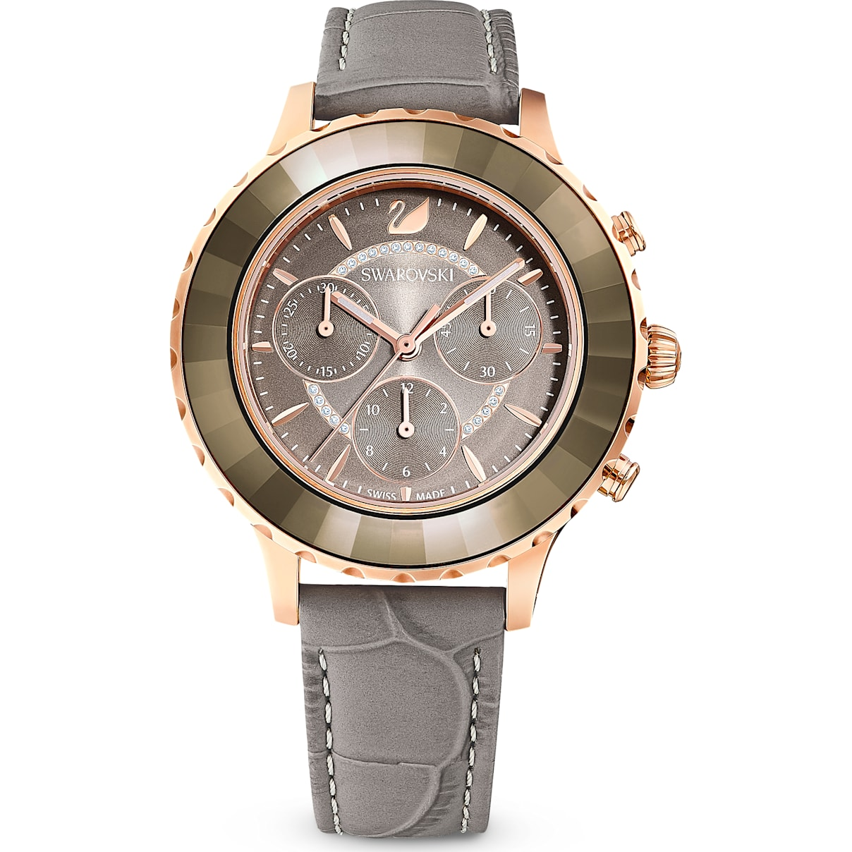 Swarovski Octea Lux Chrono Watch, Leather Strap, Gray, Rose-gold tone PVD