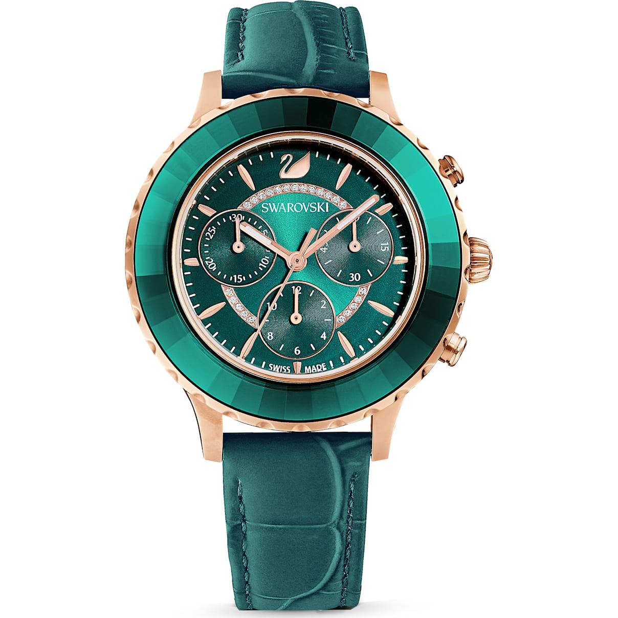 Swarovski Octea Lux Chrono Watch, Leather Strap, Green, Rose-gold tone PVD