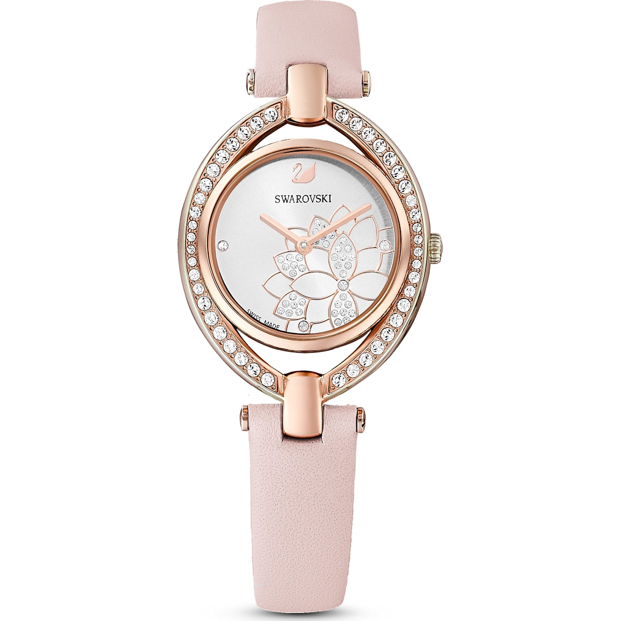 Swarovski Stella Watch, Leather Strap, Pink, Rose-gold tone PVD