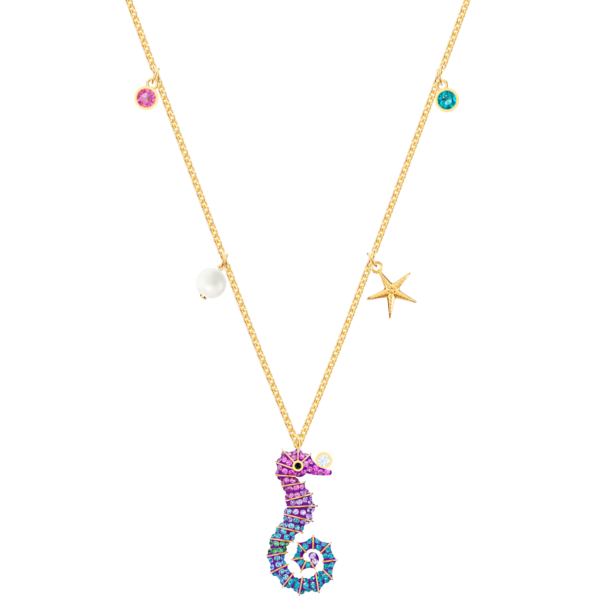 Swarovski Ocean Seahorse Pendant, Multi-colored, Gold-tone plated