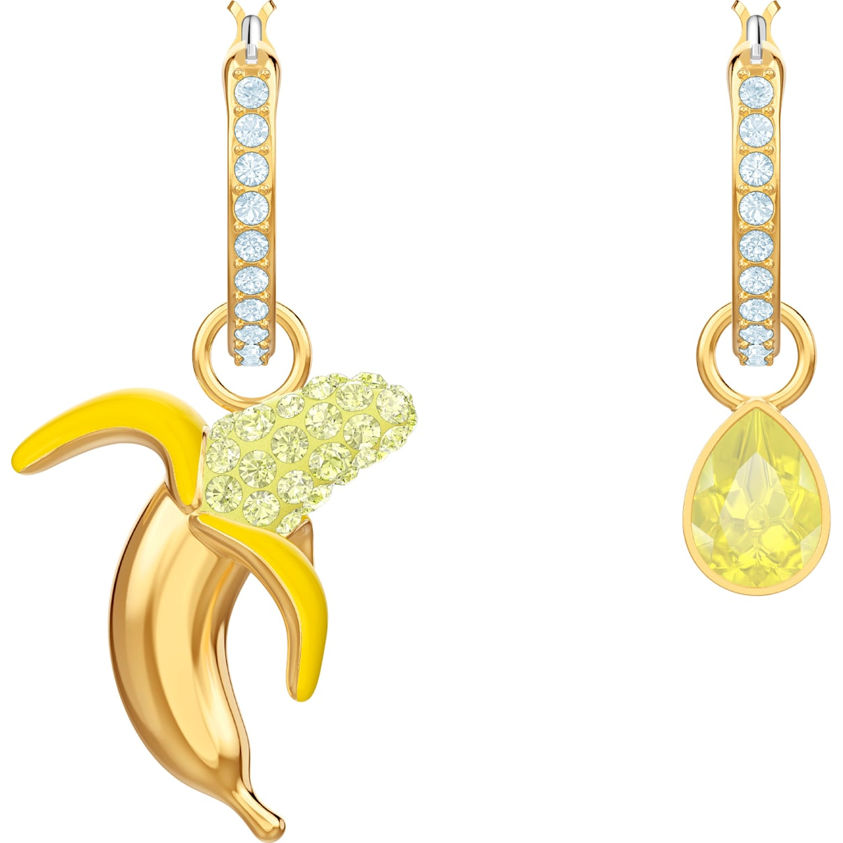 Swarovski No Regrets Banana Pierced Earrings, Multi-colored, Gold-tone plated