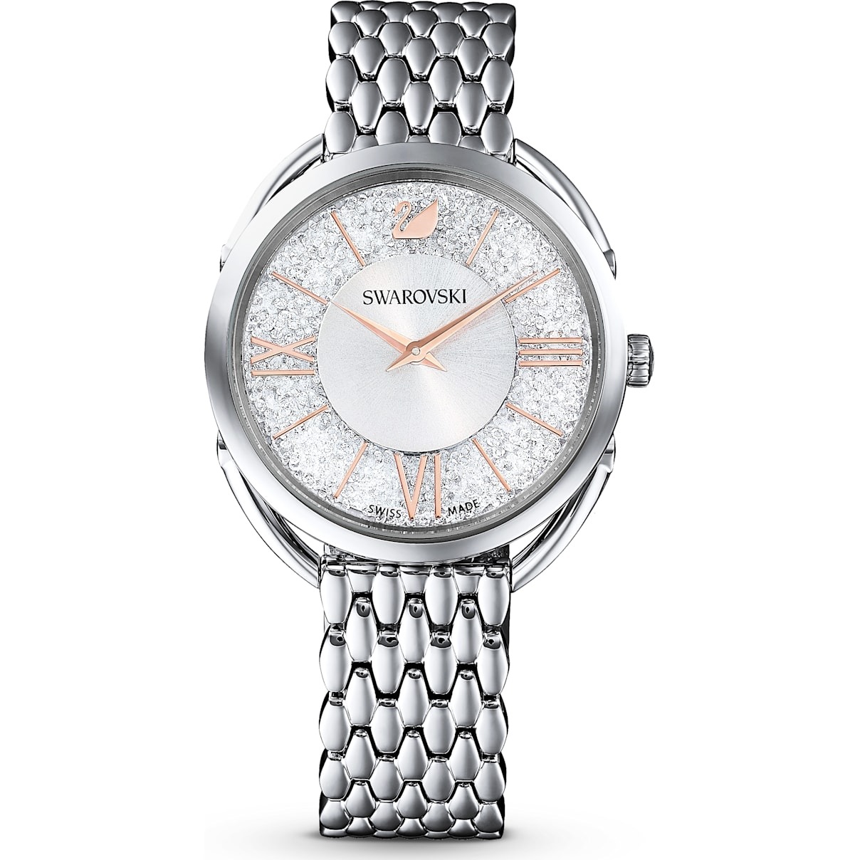 Swarovski Crystalline Glam Watch, Metal bracelet, White, Stainless steel