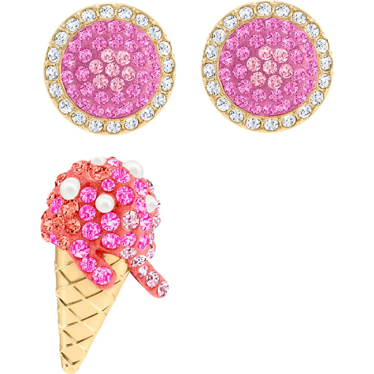 Swarovski No Regrets Ice Cream Pierced Earrings, Multi-colored, Gold-tone plated