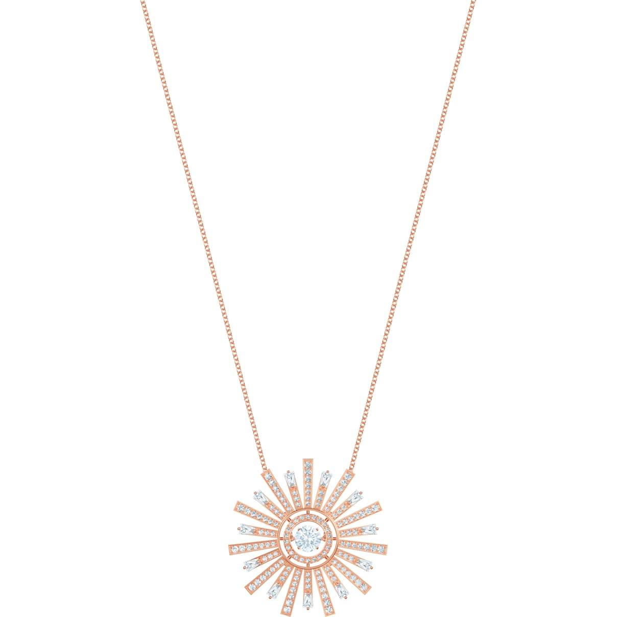 Swarovski Sunshine Necklace, White, Rose-gold tone plated