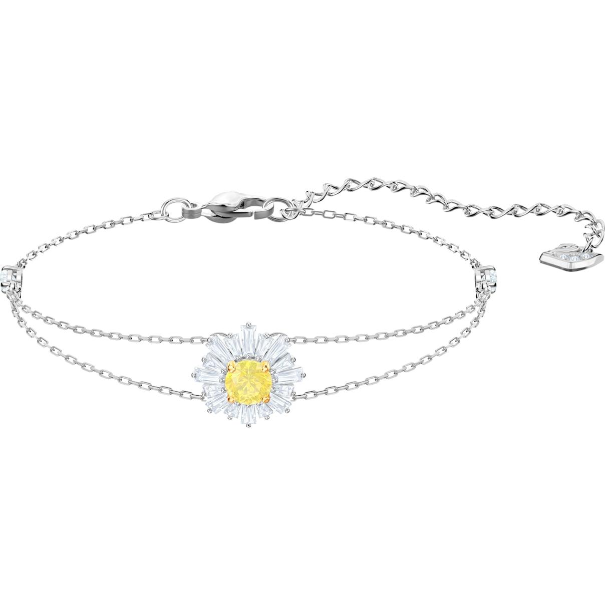 Swarovski Sunshine Bracelet, White, Rhodium plated