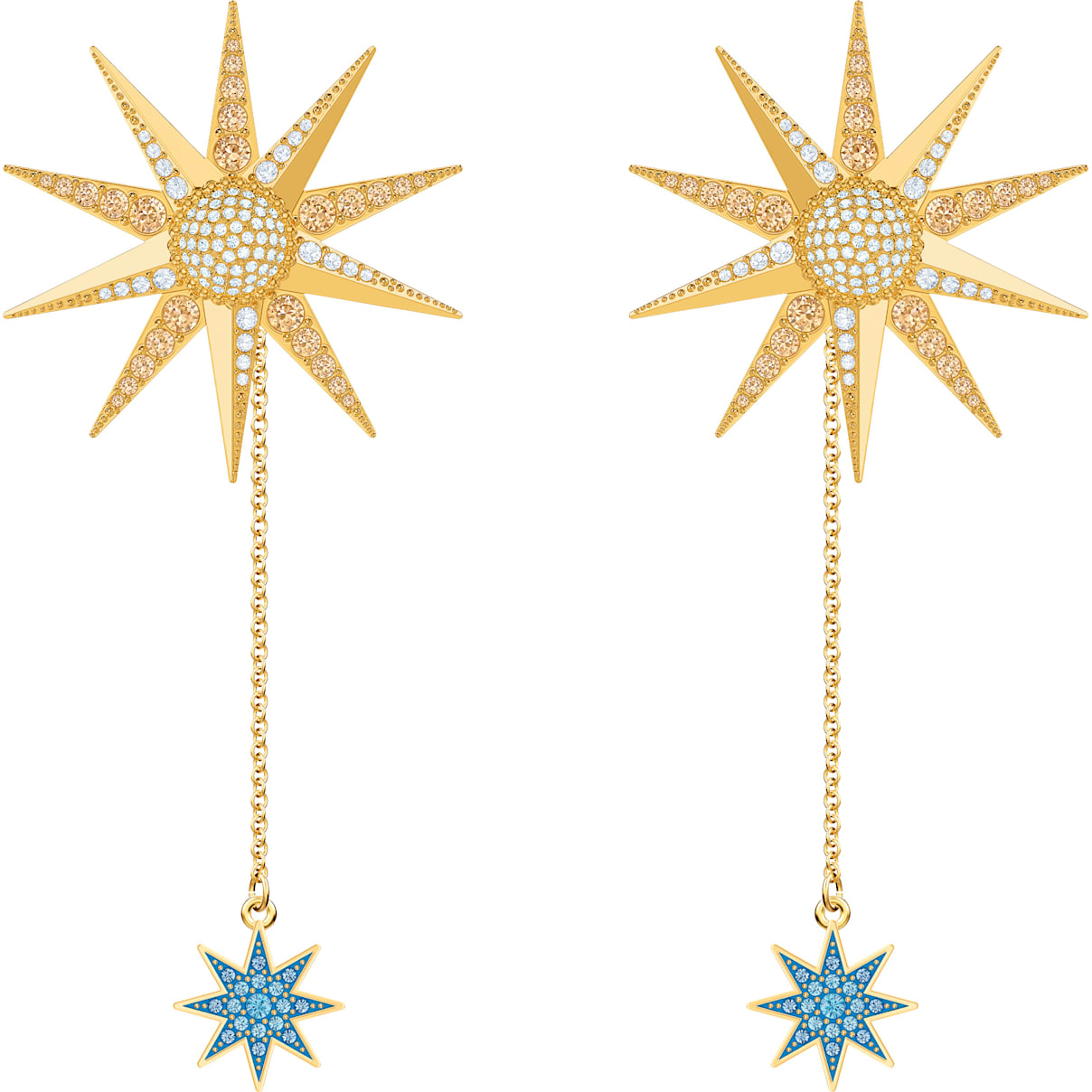 Swarovski Lucky Goddess Pierced Earrings, Multi-colored, Gold-tone plated
