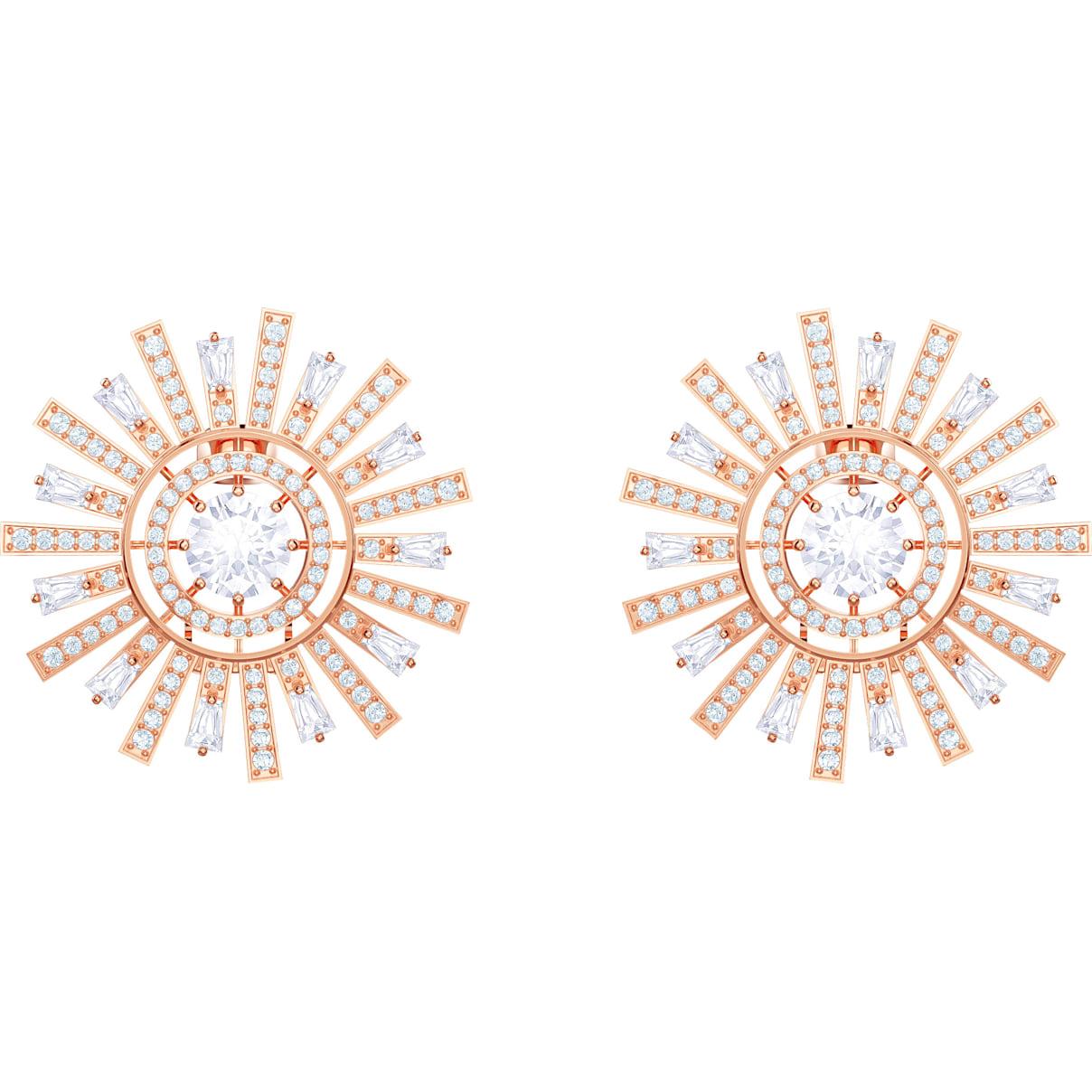 Swarovski Sunshine Clip Earrings, White, Rose-gold tone plated