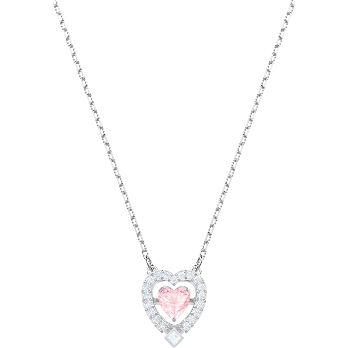 Swarovski Swarovski Sparkling Dance Heart Necklace, Pink, Rhodium plated