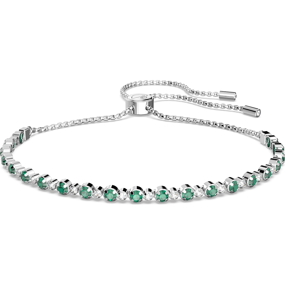 Swarovski Subtle Bracelet, Green, Rhodium plated