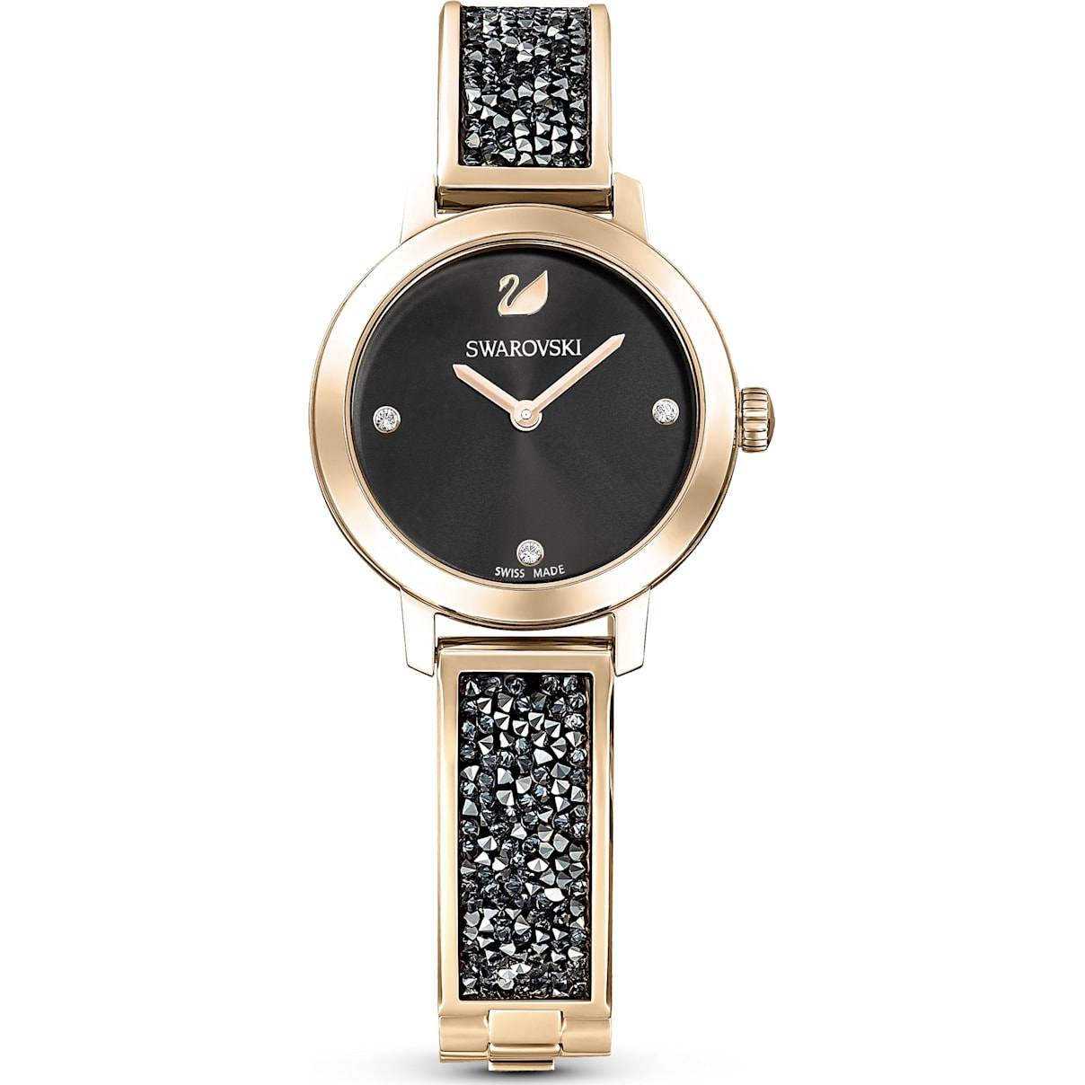 Swarovski Cosmic Rock Watch, Metal bracelet, Gray, Champagne-gold tone PVD