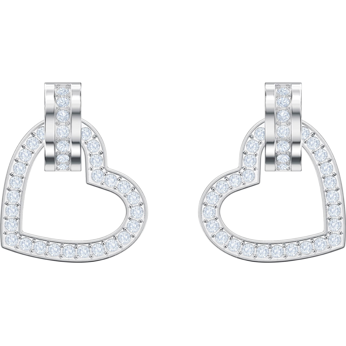 Swarovski Lovely Pierced Earrings, White, Rhodium plated