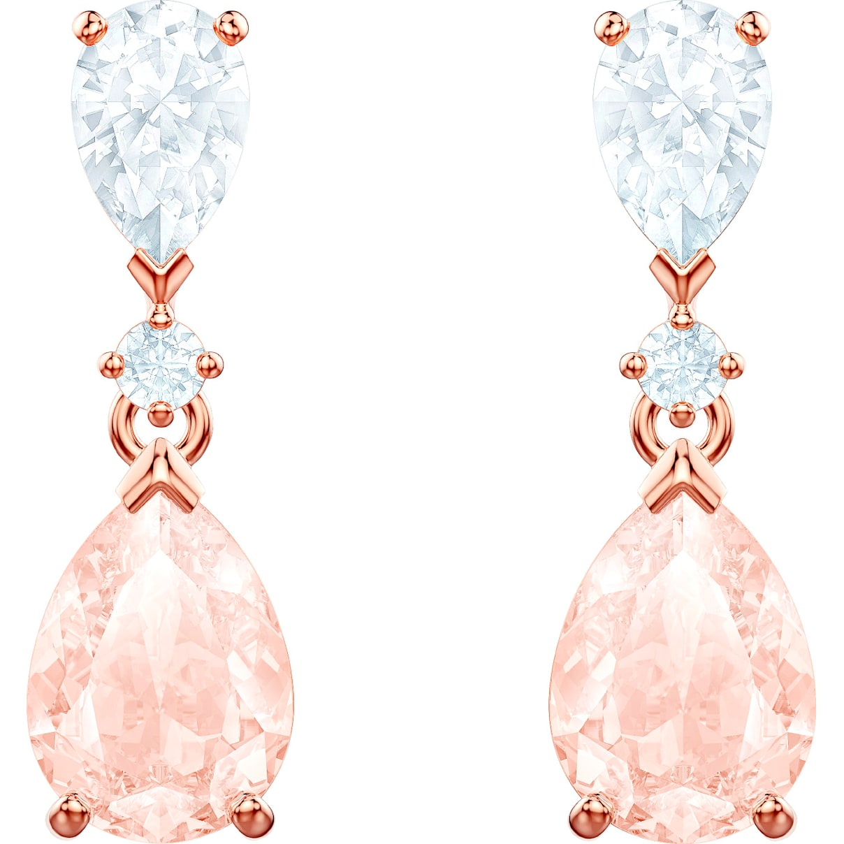 Swarovski Vintage Pierced Earrings, Pink, Rose-gold tone plated