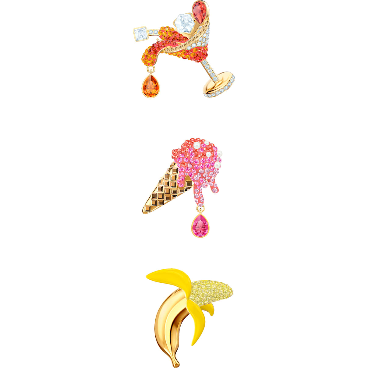 Swarovski No Regrets Brooch Set, Multi-colored, Gold-tone plated