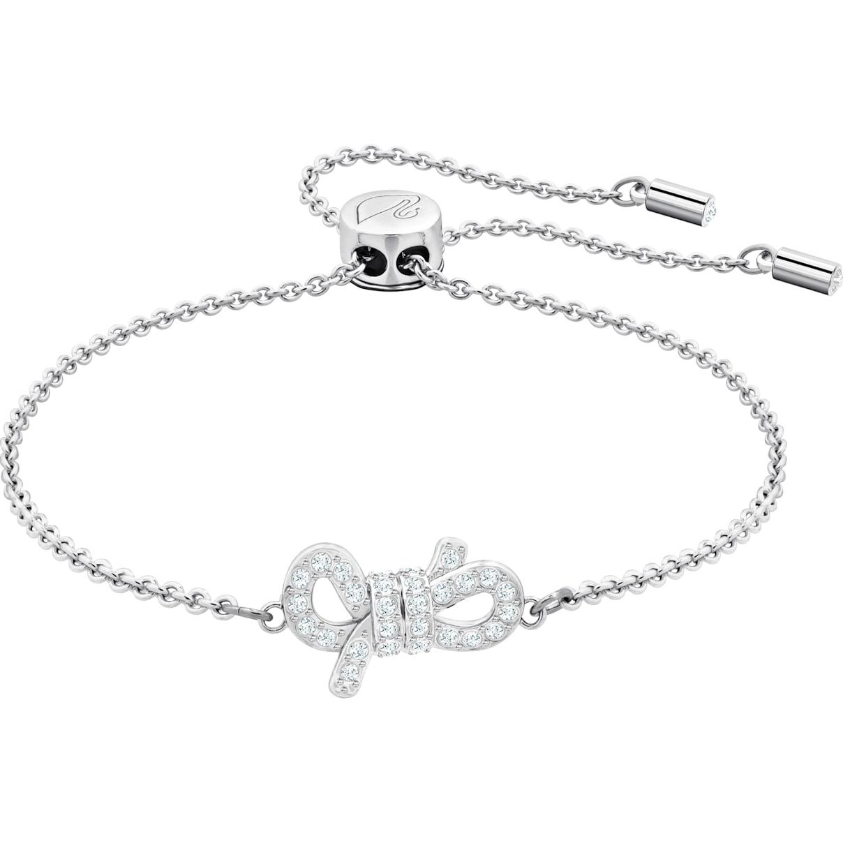 Swarovski Lifelong Bow Bracelet, White, Rhodium plated