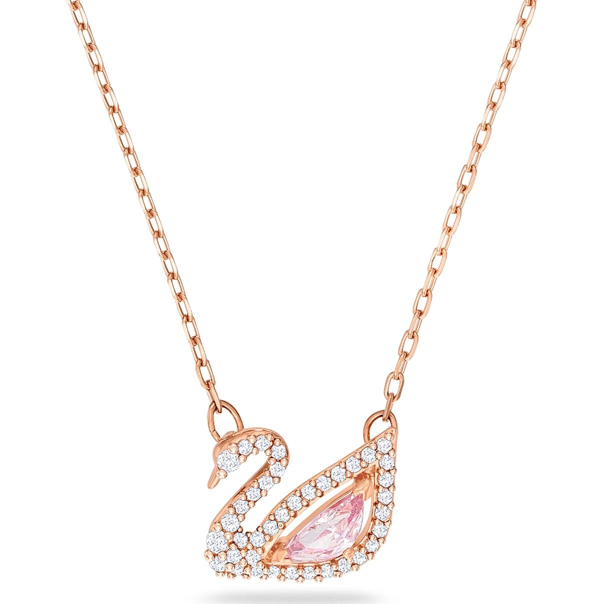 Swarovski Dazzling Swan Necklace, Multi-colored, Rose-gold tone plated