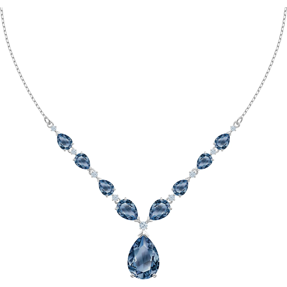Swarovski Vintage Necklace, Blue, Rhodium plated