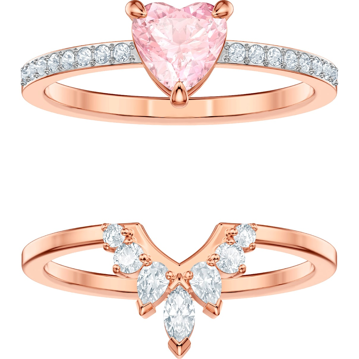 Swarovski One Set, Multi-colored, Rose-gold tone plated